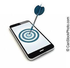 smartphone, alvo, isolado