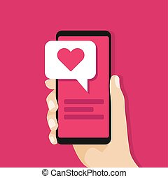 smartphone, amour, réseau, concept., screen., possession main, social, message