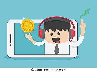 smartphone, ampoule, réussi, homme affaires, nouveau, jeune, idée, écran