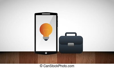 smartphone and bulb idea innovation briefcase business...