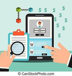 smartphone and clipboard money blockchain vector...