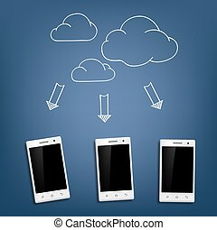 smartphone and cloud data storage