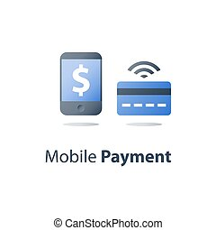 Mobile payment, online banking, financial services, smartphone and credit card, pay money, vector icon, flat illustration