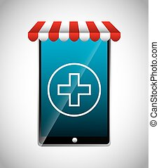 Smartphone and cross icon. Medical and health care design. Vector graphic