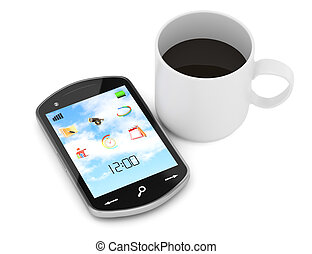 smartphone and cup of coffee