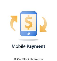 Mobile payment, online banking, financial services, smartphone and currency exchange, dollar sign, pay money, vector icon, flat illustration