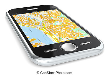 Smartphone and GPS map. - Black Smartphone with a GPS map.