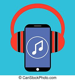 smartphone and headphones with music player app