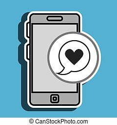 smartphone and heart black isolated icon design