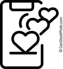 Smartphone and hearts icon, outline style
