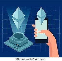 Smartphone and hologram digital background vector...