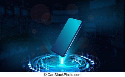 Smartphone and hologram projector. 3D Mockup