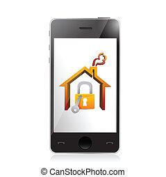 smartphone and home security concept illustration