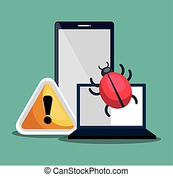 smartphone and laptop and warning sign