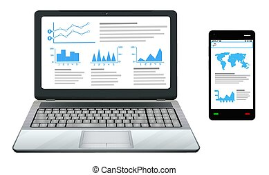 smartphone and laptop with business work graphic on screen