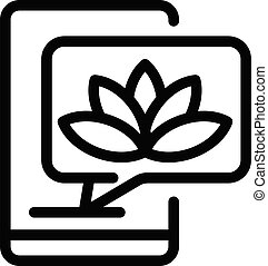 Smartphone and lotus icon, outline style