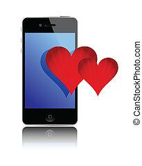 Smartphone and love hearts