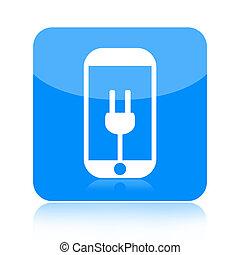 Smartphone and power plug icon