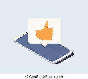 Smartphone and push notification with thumbs up gesture on it. Isometric vector illustration