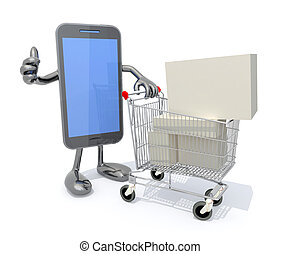 smartphone and shopping cart full of product