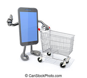 smartphone and shopping cart