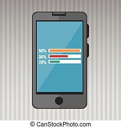 smartphone and statistics isolated icon design