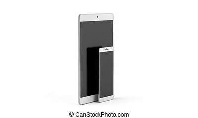 Smartphone and tablet computer with blank screens on white...