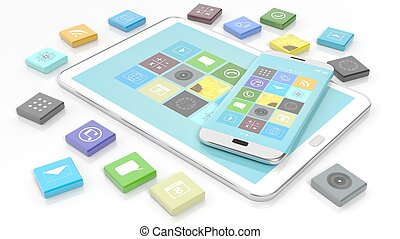 Smartphone and tablet with apps in shape of beveled square,...