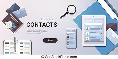 smartphone, angle, business, tablette, contacts, écran, espace, liste, sommet, bureau, bureau, concept, vue, contact, remplir, horizontal, copie, organisateur, lieu travail