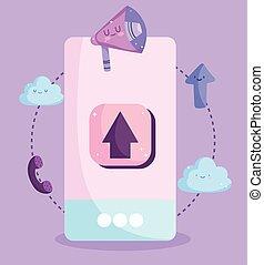 smartphone app marketing call cartoon