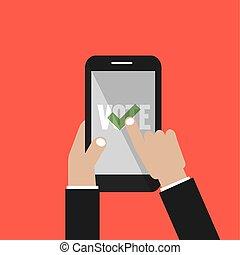 smartphone, app, ilustración, mano, vector, votación, pantalla
