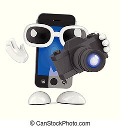 smartphone, appareil photo, 3d