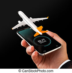 Smartphone application for online searching, buying and booking flights on the internet. Online check-in. Unusual 3D illustration of commercial airplane on smart phone in hand