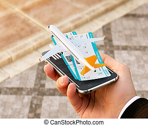 Smartphone application for online searching, buying and booking flights on the internet. Online check-in. Unusual 3D illustration of commercial airplane and boarding passes on smart phone in hand