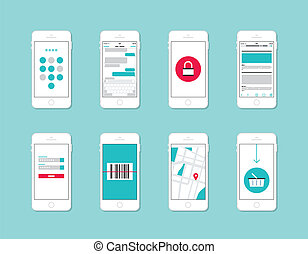 Flat design vector illustration concept set of modern mobile phone with application user interface elements, forms, icons, buttons on security and login information, internet shopping, web communication and e-commerce service. Isolated on stylish color background.