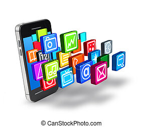Smartphone application icon symbols burst digital touchscreen display
