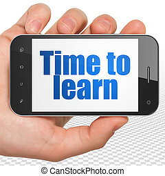 smartphone, apprentissage, apprendre, possession main, temps, exposer, concept: