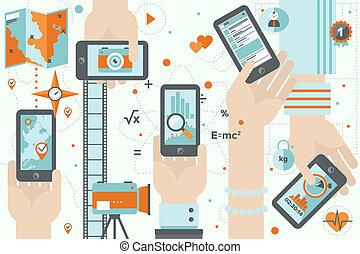 smartphone, apps, 活動中, 平ら, デザイン, イラスト