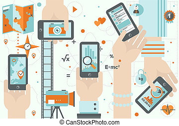 smartphone, apps, azione, appartamento, disegno, illustrazione