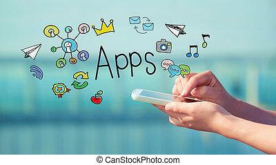 smartphone, apps, begrepp