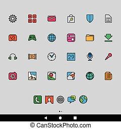 smartphone, apps, caricatura, iconos