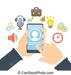smartphone, apps, chat.