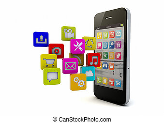 smartphone apps - render of an smart phone and apps