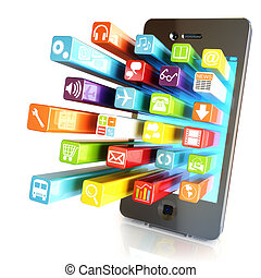 Smartphone apps, touchscreen smartphone with application software icons extruding from the screen, isolated in white