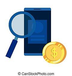 smartphone, argent, dollars, pièces, verre, magnifier