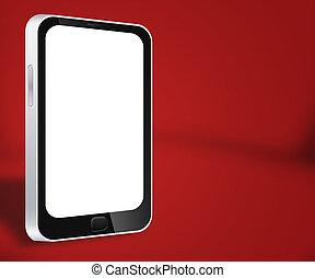 smartphone, arrière-plan rouge
