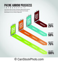Smartphone Arrow Progress Infographic