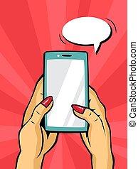 smartphone, art, pop, possession main, comique, style.