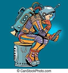 smartphone, astronaut, retro