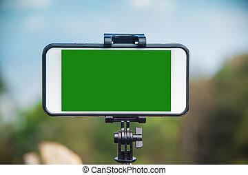 smartphone, auf, a, stativ, mit, baum, hintergrund, mit, himmelsgewölbe, und, wolkenhimmel
